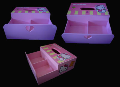 Tissue Kotak Sekat 2 Hello Kitty Pink